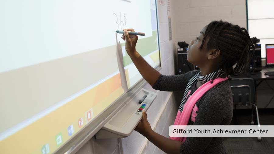 Girl using Smart Board